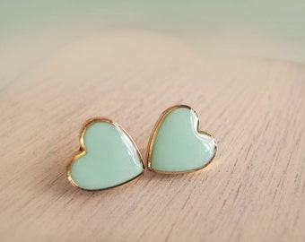 Mint Heart Stud Earrings - Bridesmaid Gifts - Hypoallergenic Posts