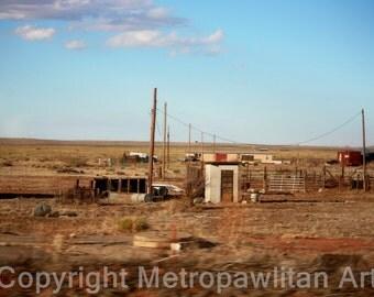 8x10 photograph deserted California farm under blue skies