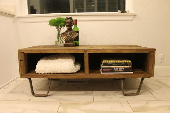 Reclaimed Wood Box Coffee Table or Media Console on Iron Legs -