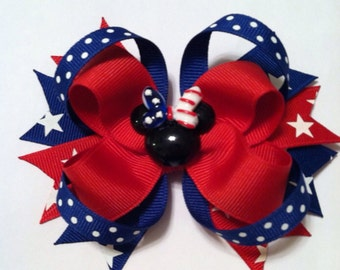 Loopy Red, White and Blue Patriotic Minnie hairbow - Fourth of July Bow - Memorial Day Hairbow - Patriotic Hairbow