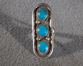 Vintage Sterling Silver 3 Oval Blue Turquoise  Bold Wide  Band Ring, Size 6.5