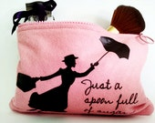pink mary poppins cosmetic bag felt make up pouch mary poppins design pink