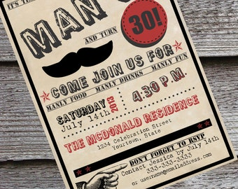 Man-Up guy's 30th or 40th birth day invitation ...
