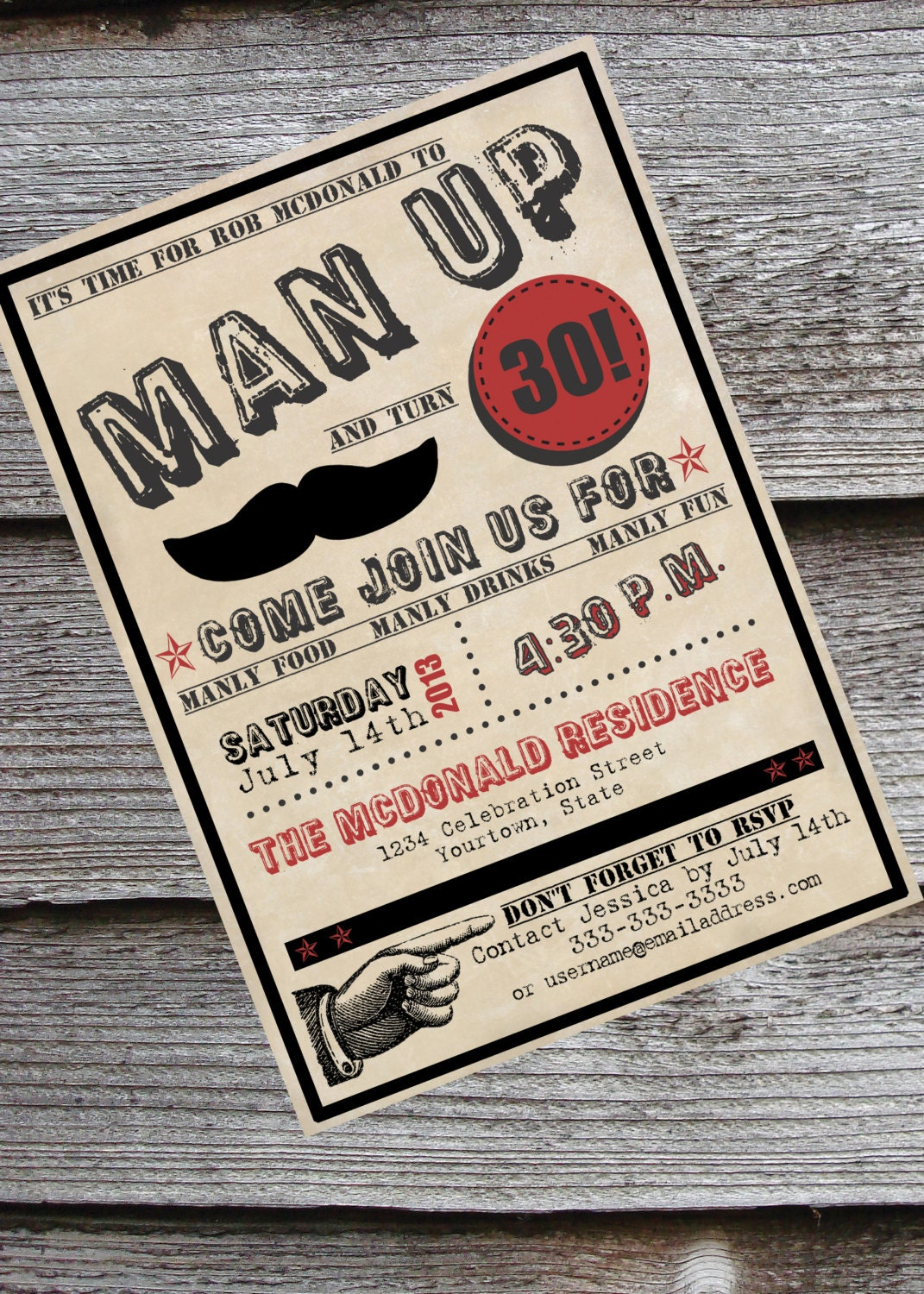 Man-Up guy's 30th or 40th birthday by NeverStopCelebrating on Etsy