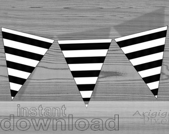 instant download printable striped pennant black and white party banner DIY