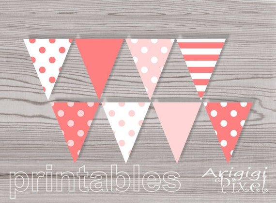 Printable Garlands - Baby Girl Shower - Baby Girl Birthday - Party Decorations -  Polka Dot - Peach Pink -  Download DIY