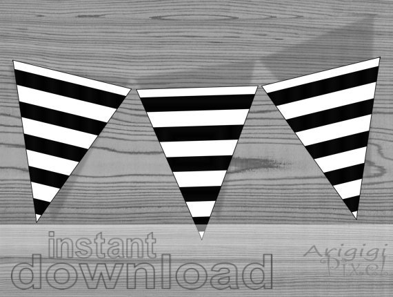 Printable striped pennants - black and white - DIY party banner