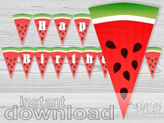 watermelon banner - happy birthday - printable garland