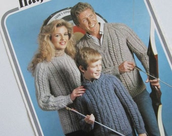 "Aran Family Knitting Pattern, Jumper, 71cm - 112cm, 28"" - 44"", Hayfield 1693"