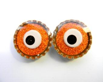 Magnet Set of 2 Monster Eyes Glitter Resin Filled Bottle Cap Magnets