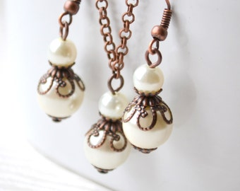 Ivory Bridesmaid jewelry set of 6 six Rustic bridesmaids set Ivory pearl Necklace Earrings Bridesmaid gift Beaded jewelry Wedding party
