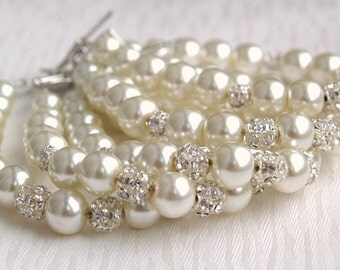 Ivory Bridesmaid 6 Gift 6 Set Bracelets Wedding Ivory Swarovski Pearl 6 Bracelets Beaded Rhinestone Bracelet Ivory Pearl Rhinestone Bracelet