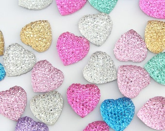 set of 50pcs 16mm 3D Crystal Bling resin Heart gem Cabochons cab mixed color-YZ0052
