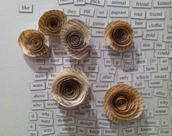 Perfect Gift Book Page Rose Magnets // Housewarming // Mother's Day // Cubical Decor // Spring