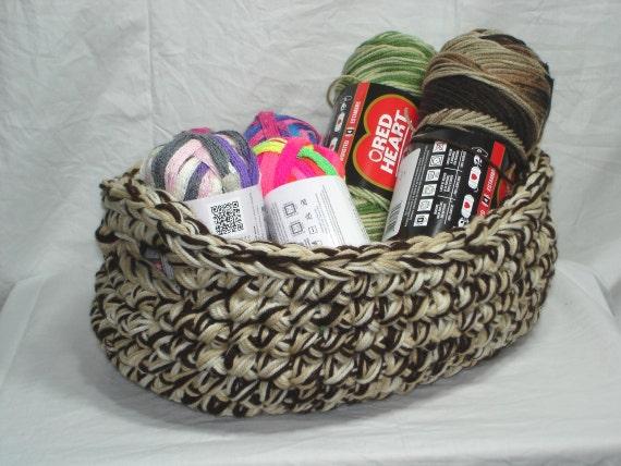 Handmade Crochet Basket : Large handmade crochet oval basket with handles