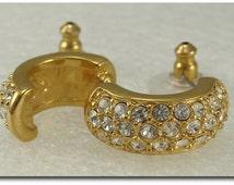 ON SALE Vintage Signed Swarovski Crystal Pierced Earrings Gold Tone
