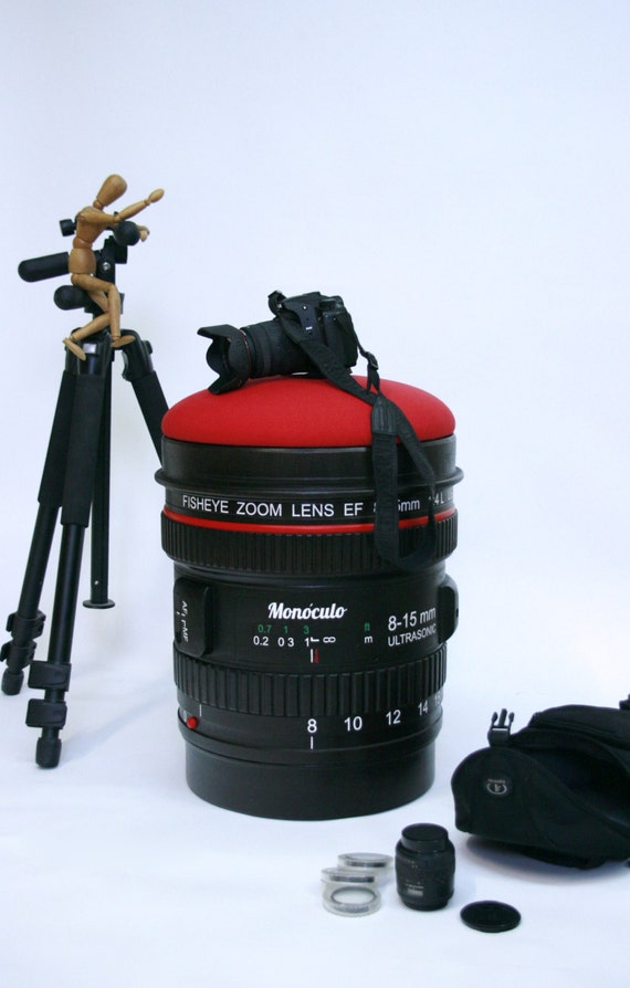 Good Wood Stool Camera Lens Shape / Paparazzi Stool / Geek Stool / Photo Camera  Stool / Puff / Ottoman / Bench Nice Look