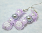 Beaded ribbon earrings. White and grey glass pearl earrings. White flower jewelry. Purple ribbon dangle earrings. Ships free