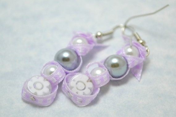 Beaded ribbon earrings. White and grey glass pearl earrings. White flower jewelry. Purple ribbon dangle earrings. Ships free