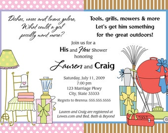 His/Her Customizable Couples Shower Invitation, digital printable 5x7 file