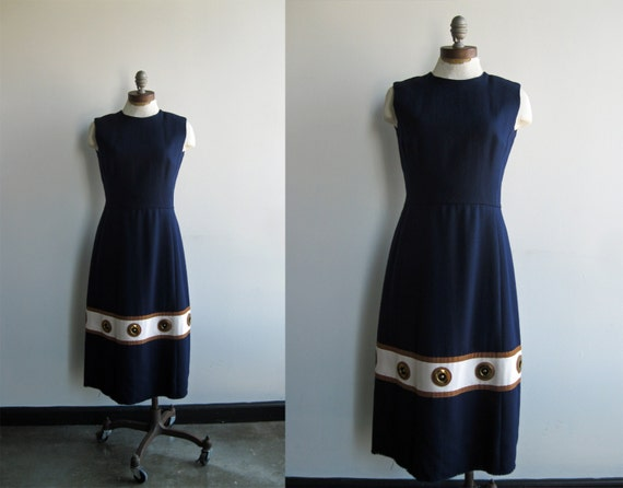 1960's Women's Sleeveless Navy Wool Midi Dress with Tan and White Stripe and Gold Metal Grommet Detail