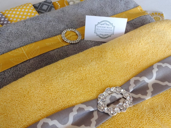 you pick custom bling yellow and gray towels custom by augustave. Black Bedroom Furniture Sets. Home Design Ideas