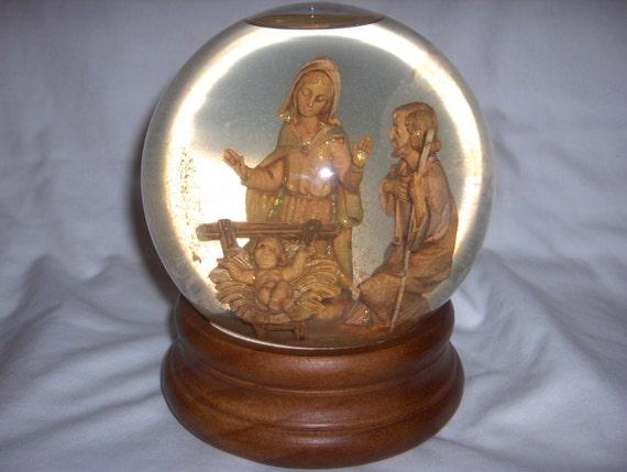 Large Nativity Snowglobe San Francisco Music Box