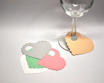 Paper Heart Wine Glass Markers, Disposable Name Tags (set of 12)