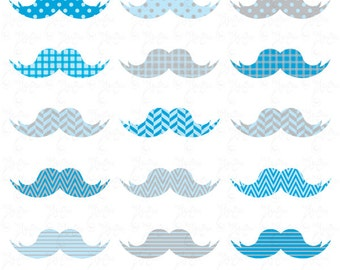 Mustaches Clip Art , Blue Mustaches, Baby Mustaches perfect for Scrapbook, Cards, Invitations,Personal and Commercial Use Oth005