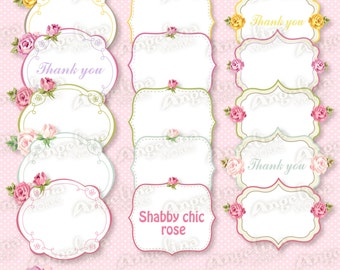 15 Digital Vector Printable Shabby chic Thank you Frames, Labels for Scrapbooking