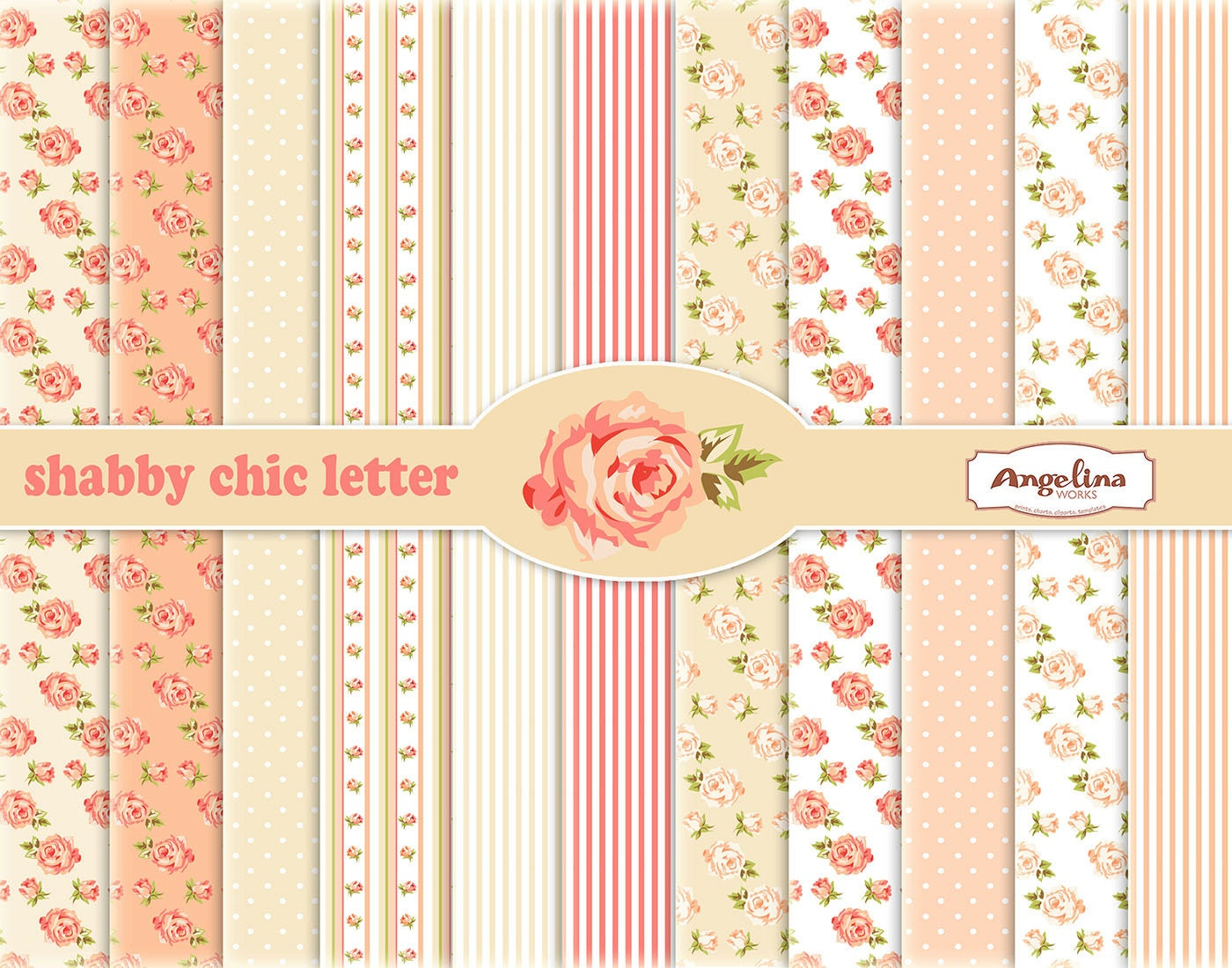 12 Shabby Chic Rose Digital Scrapbook Papers 8x11 inch for