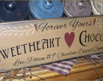 FOREVER YOURS SWEETHEART primitive sign