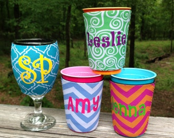 Monogrammed Solo Cup Can Cooler, Wineglass Can Cooler, Beverage Insulator
