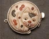 Clasp Carved Bone Cat in Sterling Silver 925 approx. 35mm x35mm
