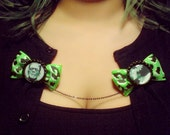 Frankenstein and Bride Classic Horror Bow Sweater Guards