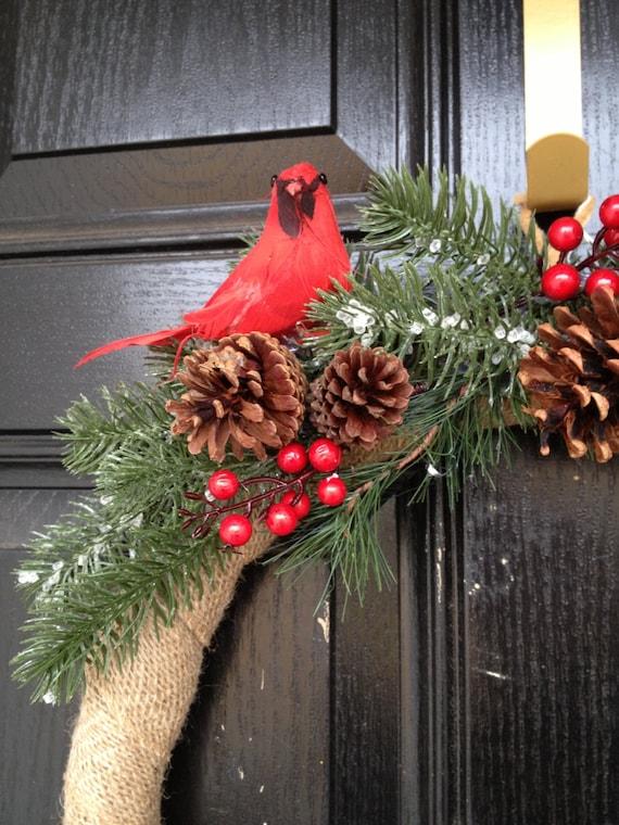 Winter Burlap Wreath Red Cardinal Bird
