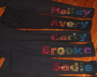 Personalized Rhinestone Leggings