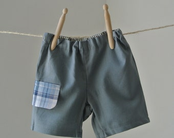 Baby Boys Linen/Cotton Shorts Pants With Decorative Pocket FREE UK SHIPPING