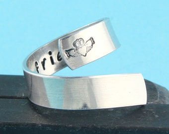 SALE - Claddagh Twist Wrap Ring - Love Loyalty Friendship - Irish Saying - Hand Stamped Ring - Graduation present