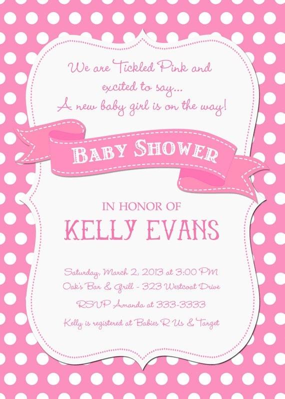 Tickled Pink Polka Dot Baby Shower Invitation - Printable