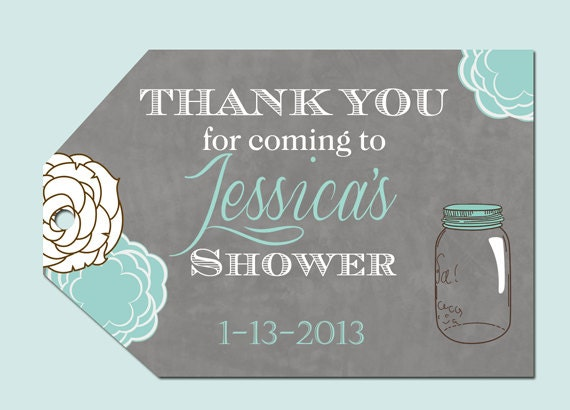 Bridal Shower Favor Tags Sayings : Mason Jar Floral Bridal Shower Favor Tags by PartyPopInvites