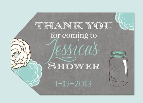 Mason Jar Floral Bridal Shower Favor Tags by PartyPopInvites