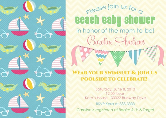 items similar to beach bunting baby shower invitations printable on