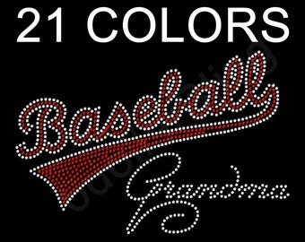 "Rhinestone Iron On Transfer ""Baseball Grandma"" Bling - You choose from 17 Colors"