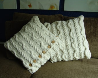 Cable Knit Pillow Cover, Celtic Inspired 20x20 inch Pillowcase