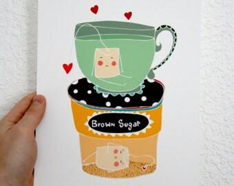 Kitchen Print - Tea Bags-