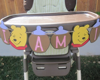 Pink and Purple Winnie the Pooh Birthday High Chair Banner