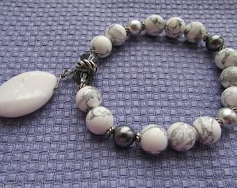 Howlite and Swarovski Stretch Bracelet with Large Charm