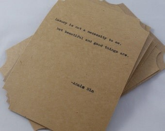 The ANAIS NIN COLLECTION--Quote Cards-- Five Hand-Made Art Typography Letterpress Cards