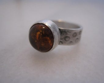Amber Stone .925 Sterling Silver Ring